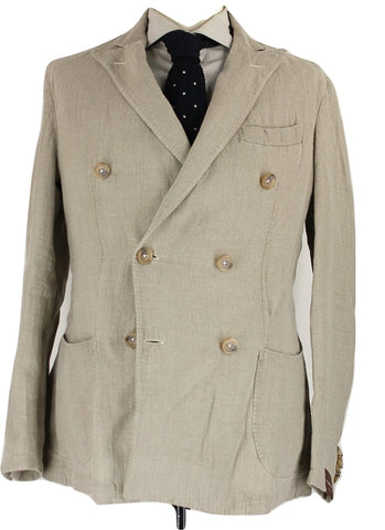 Fugato - Light Brown Washed Linen Double-Breasted Blazer - PEURIST
