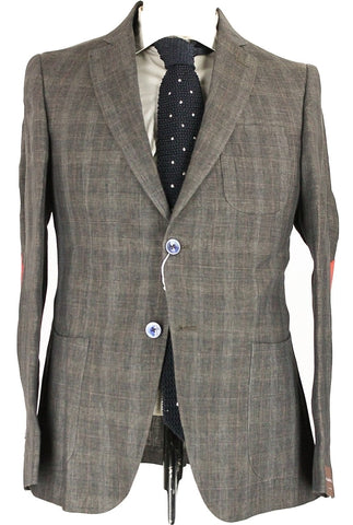 Fugato - Gray Plaid Linen Blazer w/Red Windowpane - PEURIST