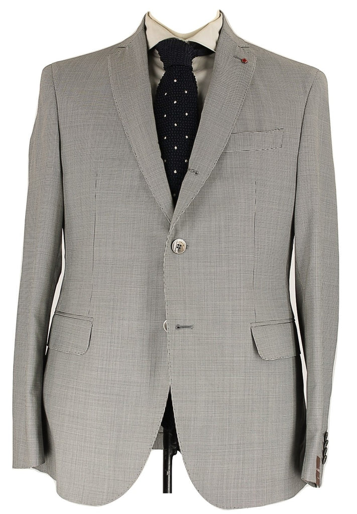 Fugato - Black & Gray Mini-Houndstooth Wool Suit - PEURIST