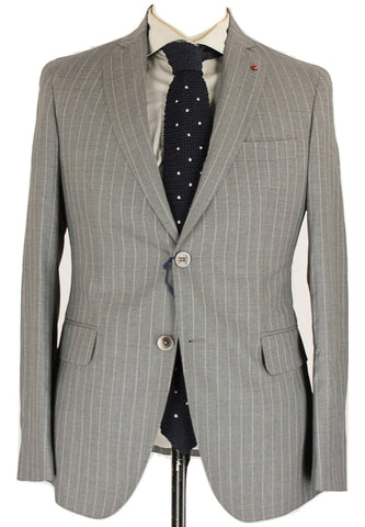 Fugato - Light Gray Pinstripe Four Season Wool Suit - PEURIST