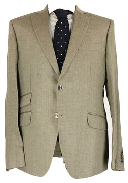 Fugato - Light Gray Herringbone Linen Blazer