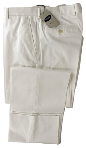 Equipage - White Herringbone Cotton Pants - PEURIST