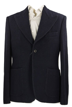 Royal Hem - Dark Navy Heavy Wool Knit Blazer - PEURIST