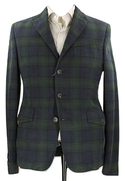 Royal Hem - Navy & Green Tartan Plaid Jacket - PEURIST