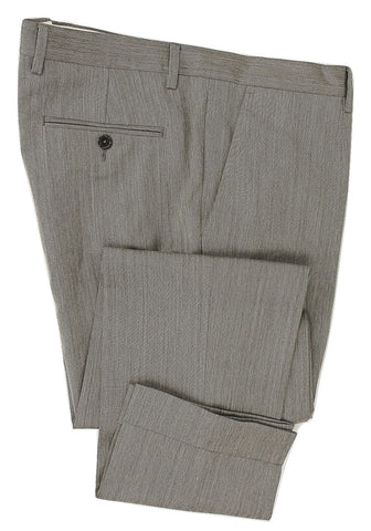 Royal Hem - Light Gray Speckled Wool Pants - PEURIST