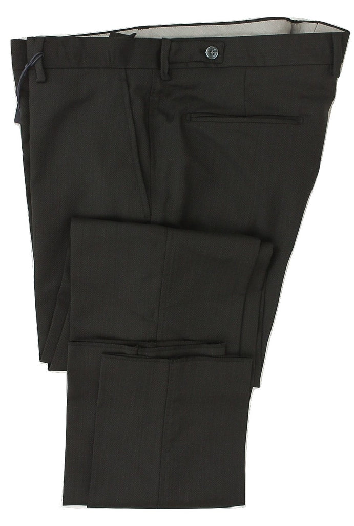Royal Hem - Gray Wool Pants w/Light Gray Birdseye - PEURIST