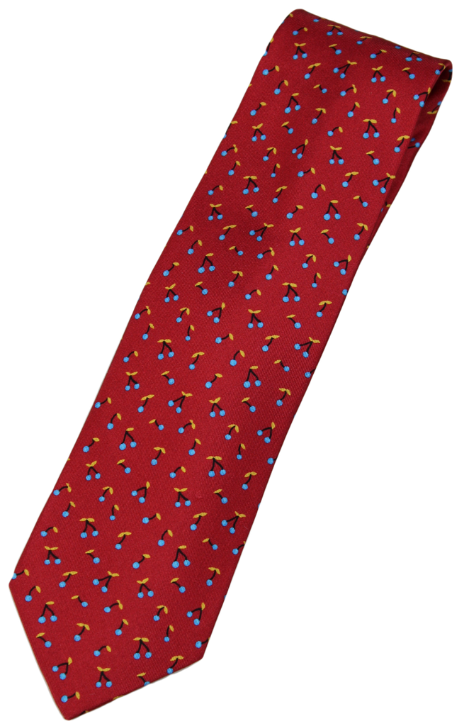 Drake's – Red Silk Tie w/Cherry Pattern
