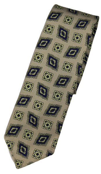 Drake's – Beige Silk Tie w/Blue & Light Yellow Madder Print