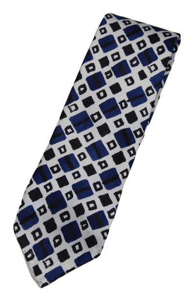 Drake's – White Silk Tie w/Blue & Black Watercolor Print