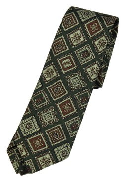 Drake's – Dark Green Silk Tie w/Ancient Madder Print