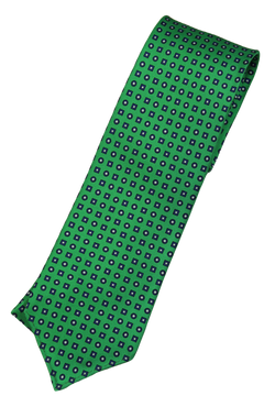 Drake's – Green Silk Tie w/Blue Geometric Pattern