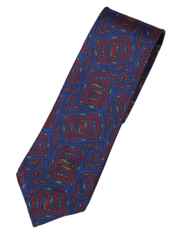 Drake's – Dark Blue Silk Tie w/Red Tribal Print