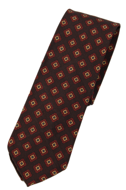 Drake's – Brown Silk Tie w/Diamond Print