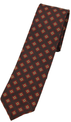 Drake's – Brown Silk Tie w/Diamond Print [IMPERFECT - FS]