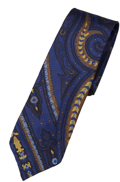 Drake's – Blue Silk Tie w/Exploded Paisley Print