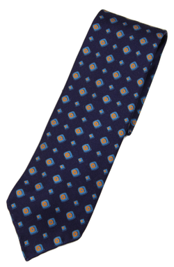 Drake's – Navy Silk Tie w/Blue & Orange Geometric Print