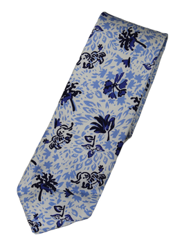 Drake's – Off-White Silk Tie w/Blue Elephant + Leaf Print