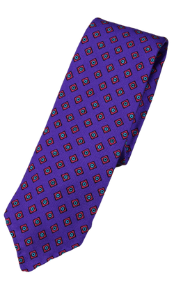 Drake's – Purple Silk Tie w/Red & Green Diamond Print