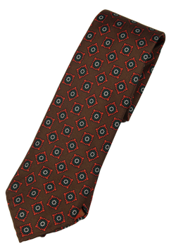 Drake's – Brown Silk Tie w/Ancient Madder Print