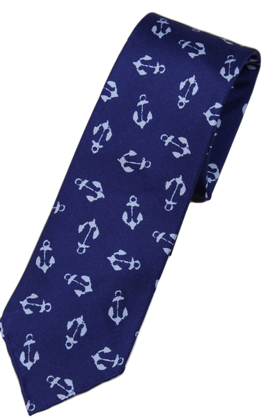 Drake's – Blue Silk Tie w/Anchor Print
