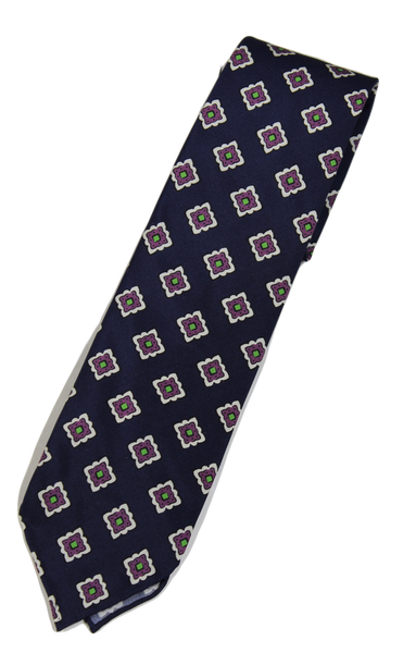 Drake's – Navy Silk Tie w/Ancient Madder Print