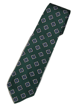 Drake's – Green Silk Tie w/Ancient Madder Pattern