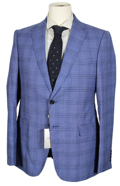 Armani Collezioni – Blue Wool Blazer w/Plaid Overcheck
