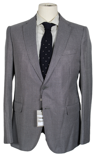 Armani Collezioni – Black & Gray Basketweave Wool-Blend Blazer