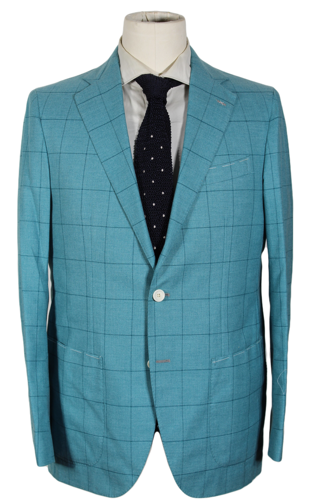 De Petrillo - Light Green Windowpane Wool Blazer - PEURIST