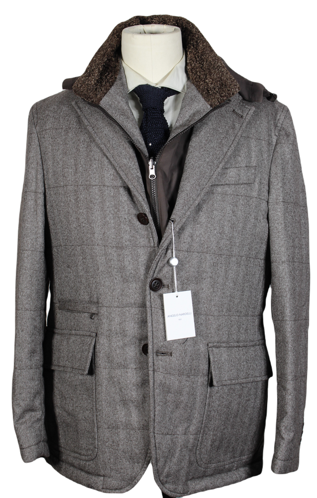 Angelo Nardelli – Brown Herringbone Wool Quilted Jacket