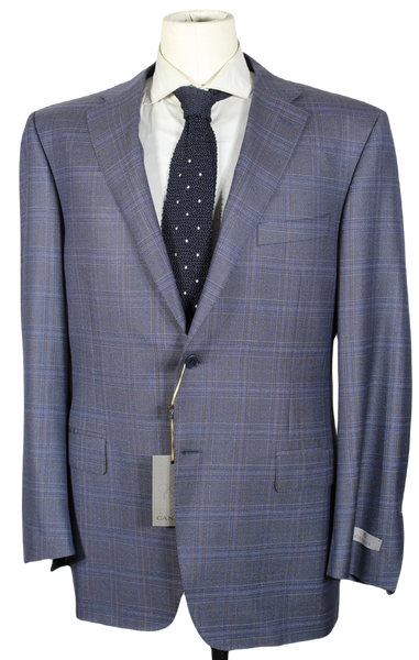 Canali – Navy & Gray Plaid Four-Season Wool Blazer