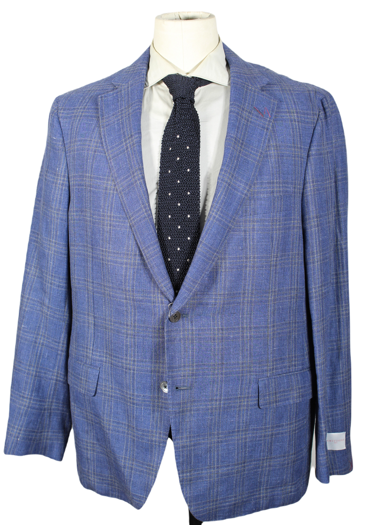 Samuelsohn – Blue Linen/Wool Blazer w/Faint Yellow Plaid