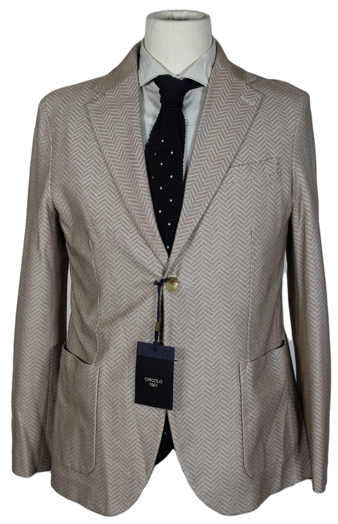Circolo – Light Brown Knit Herringbone Cotton Blazer