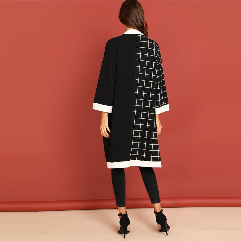 SHEIN Black & White Grid Print Plaid Coat