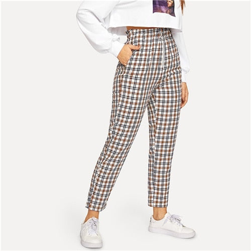 Plaid Peg Straight Leg High Waist Pants