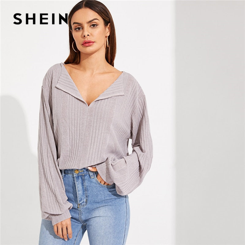 Grey V Neck Drop Shoulder Solid Ribbed Plain Long Sleeve Tee