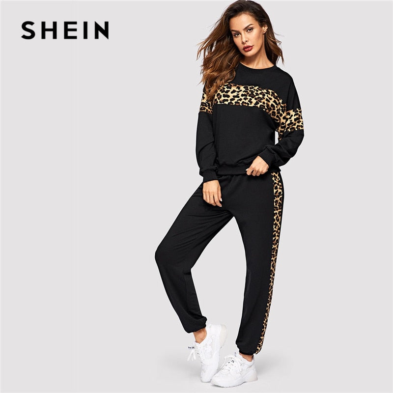 SHEIN 2 PIECE SET : Black Leopard Panel Pullover Athleisure Sweatshirt & Sweatpants