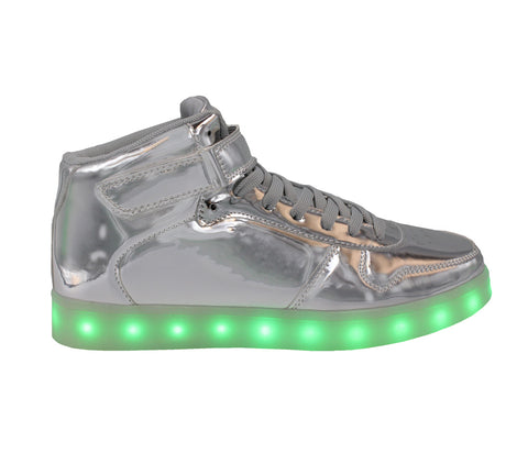 High Top Kids LED USB Lace & Strap Shoes Silver
