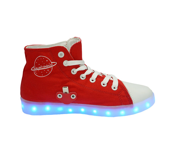 High Top USB Canvas LED Shoes (Red)