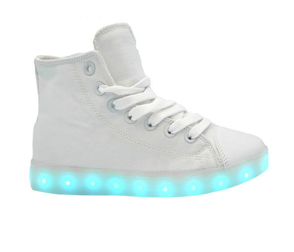 High Top USB Canvas LED Shoes (White)