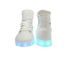 High Top Women LED USB Canvas Shoes