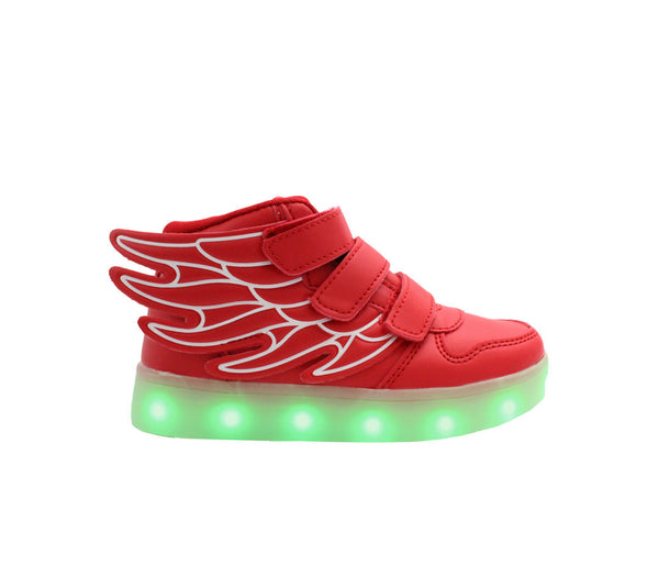 Kids High Top Wing Walker (Red) - LED SHOE SOURCE,  Shoes - Fashion LED Shoes USB Charging light up Sneakers Adults Unisex Men women kids Casual Shoes High Quality
