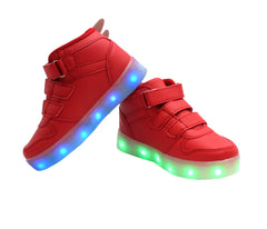 Red High top kids wings LED light up shoes. Light up sneakers for kids, light up in 7 colors.