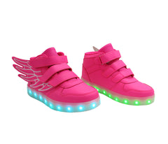 Kids High Top Wing Walker (Pink) - LED SHOE SOURCE,  Shoes - Fashion LED Shoes USB Charging light up Sneakers Adults Unisex Men women kids Casual Shoes High Quality