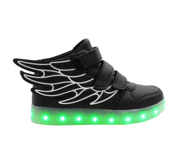 Black High top wings LED shoes for kids. These light up shoes are loved by all kids.