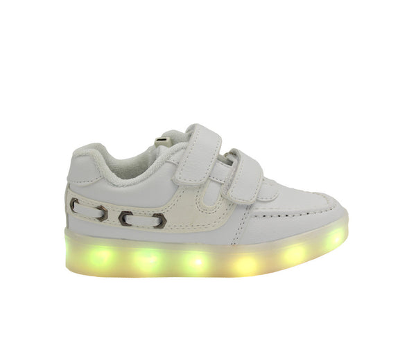 Kids white LED boat shoes. LED shoes for kids with 7 changing colors.