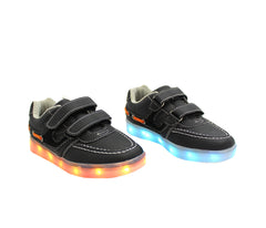 Kids Boat (Black) - LED SHOE SOURCE,  Shoes - Fashion LED Shoes USB Charging light up Sneakers Adults Unisex Men women kids Casual Shoes High Quality