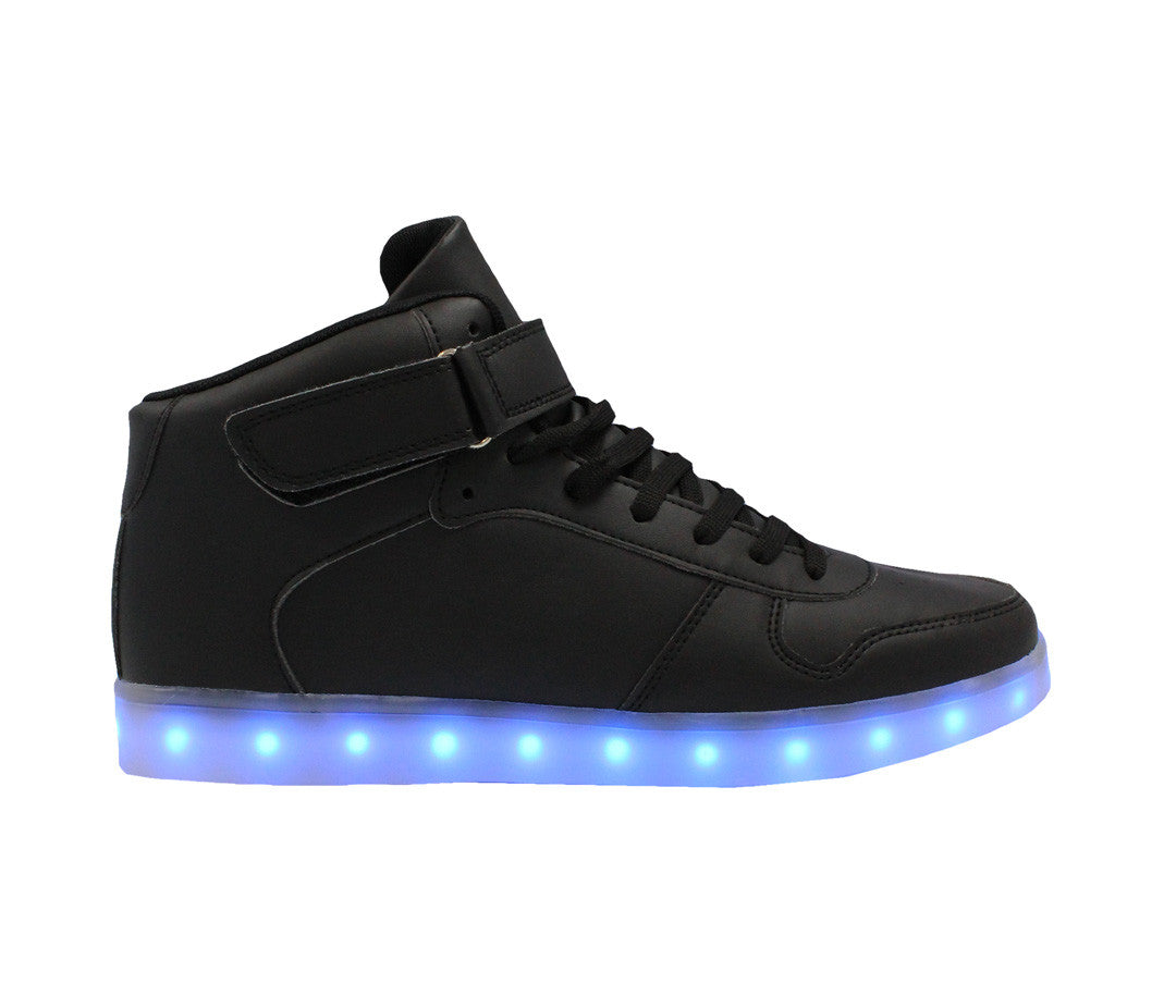 Black High top  LED light up shoes. Simillar to  Air force ones for adults. Like Nike high top LED shoes.