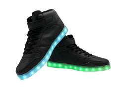 High Top Casual (Black) - LED SHOE SOURCE,  Shoes - Fashion LED Shoes USB Charging light up Sneakers Adults Unisex Men women kids Casual Shoes High Quality