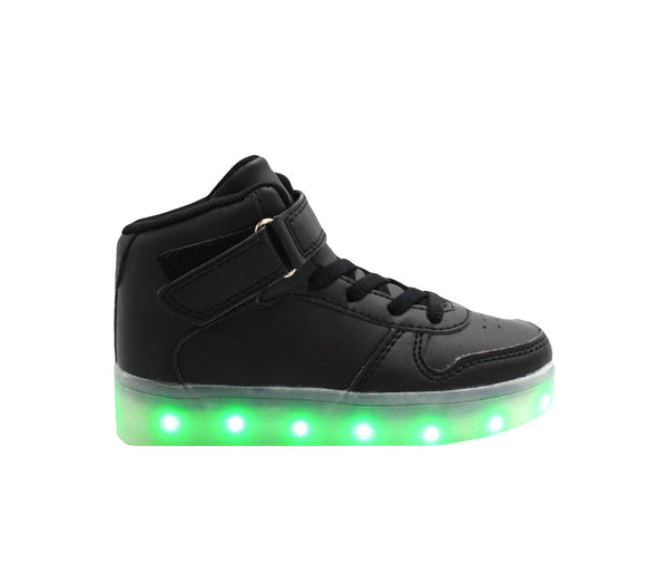 Black High top kids LED light up shoes. Air force ones for kids. Nike high top LED shoes.